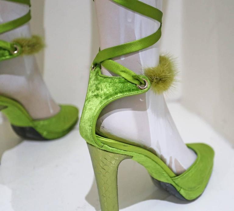Gucci by Tom Ford green velvet platforms with mink fur and silk, c. 2004 For Sale 1