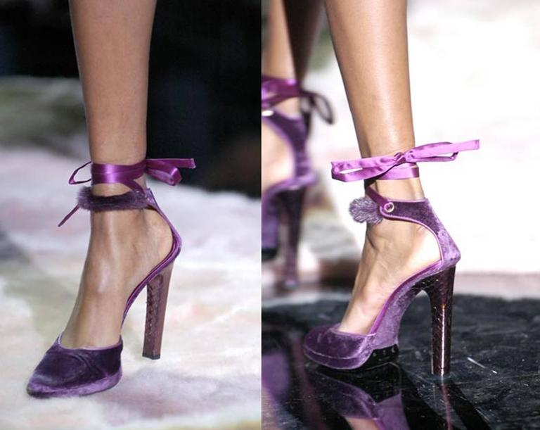 From Tom Fords last ever collection for Gucci and possibly one of his best. These Gucci velvet platforms featured on the runway and print campaign. The shoes feature a platform, snakeskin embosses leather heels, mink fur and silk tie-up fastening.