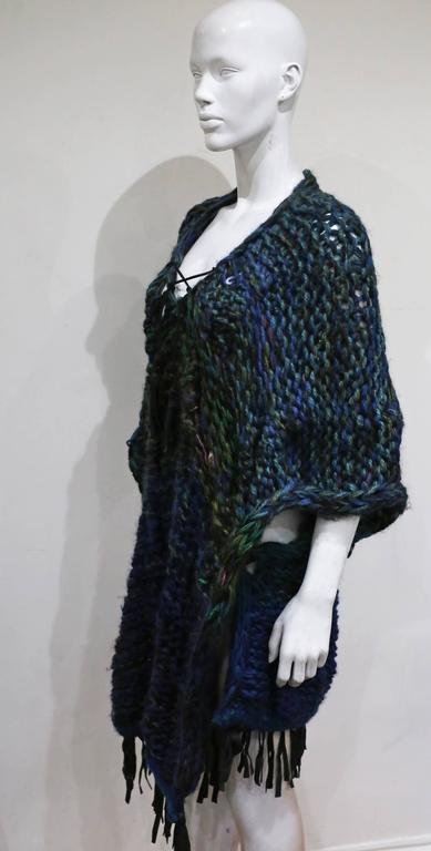 Oversized hand made knitted poncho/vest with leather fringing, c. 1970s 3