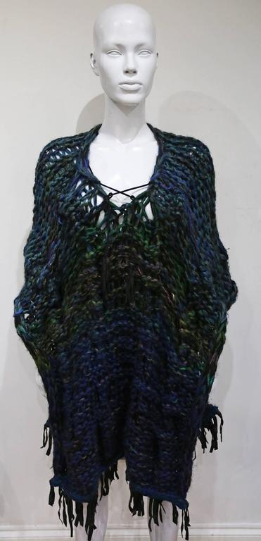 Oversized hand made knitted poncho/vest with leather fringing, c. 1970s 5