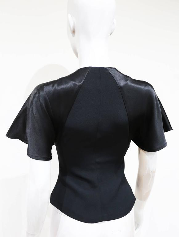 Ossie Clark black moss crepe and satin button up blouse, c. 1970s 3