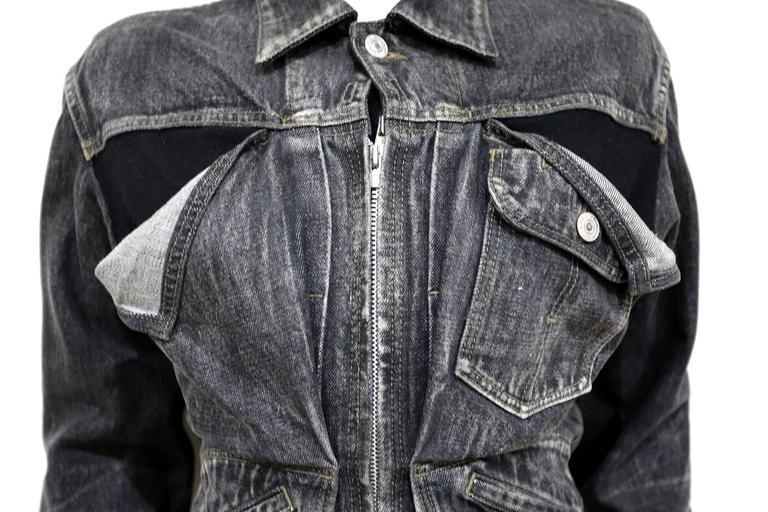 Black Yohji Yamamoto deconstructed denim jacket, c. 1990s For Sale