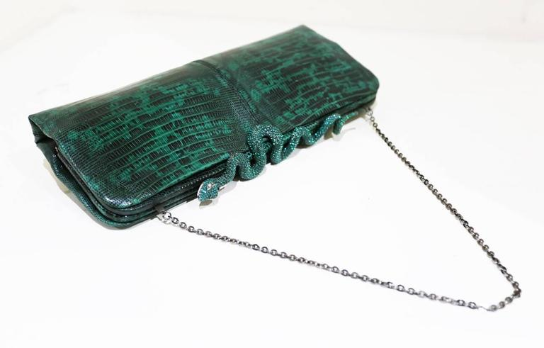 Blue Valentino lizard skin evening bag/clutch with encrusted crystal snake closure For Sale
