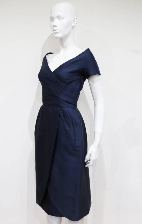 Black Rose Bertin Couture silk cocktail dress, c. 1950s For Sale
