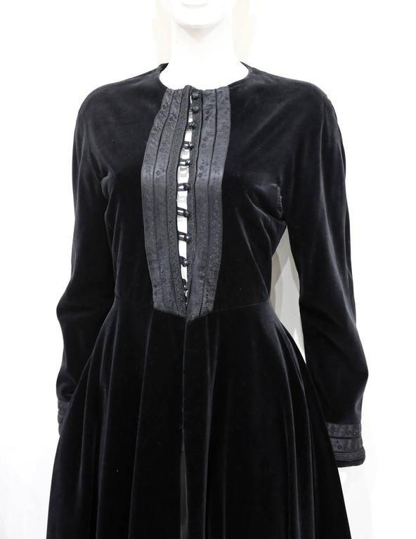 An early and rare Jean Paul Gaultier Russian inspired black velvet evening coat from the 1980s.