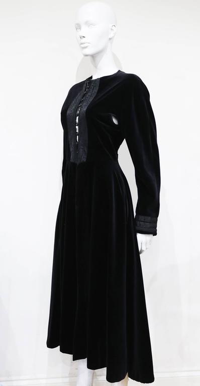 Black Jean Paul Gaultier black velvet and silk Russian inspired evening coat, c. 1980s For Sale