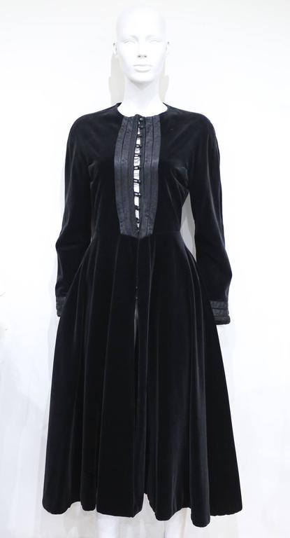 Women's Jean Paul Gaultier black velvet and silk Russian inspired evening coat, c. 1980s For Sale