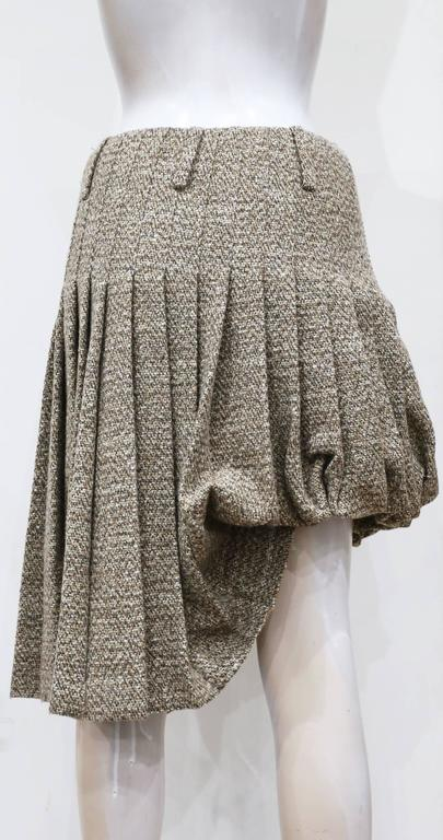 Gray Alexander McQueen tweed pleated bubble skirt, c. 2006 For Sale
