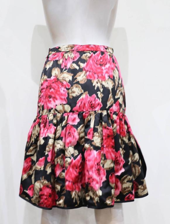Pink Valentino floral silk summer skirt, c. 1980s For Sale