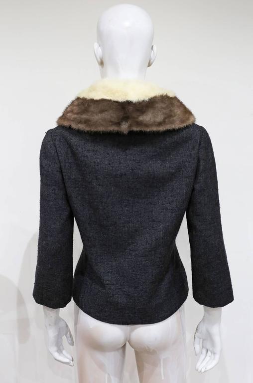 Black Jeanne Lanvin by Castillo tailored woollen jacket with mink fur scarf, c. 1950s For Sale