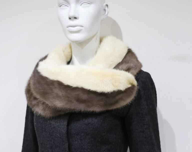 Jeanne Lanvin by Castillo tailored woollen jacket with mink fur scarf, c. 1950s In Excellent Condition For Sale In London, GB