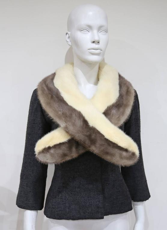 Jeanne Lanvin by Castillo tailored woollen jacket with mink fur scarf, c. 1950s For Sale 1