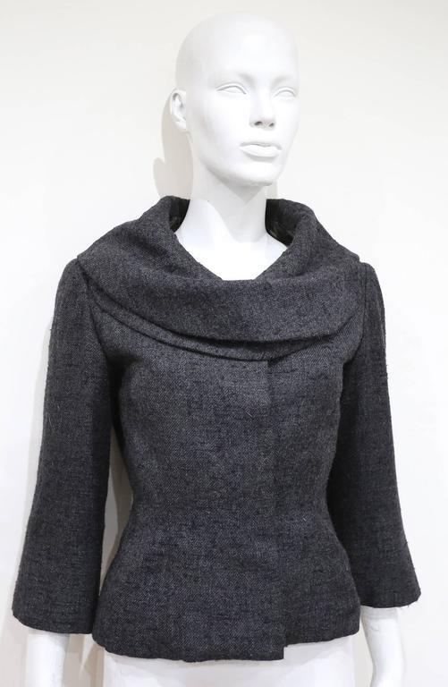Jeanne Lanvin by Castillo tailored woollen jacket with mink fur scarf, c. 1950s For Sale 2