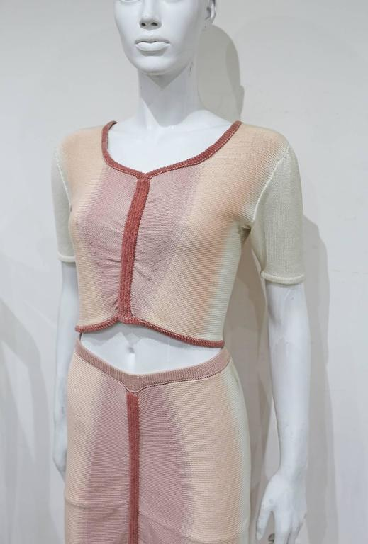 Valencia pastel knitted skirt and crop top ensemble, c. 1990s  2
