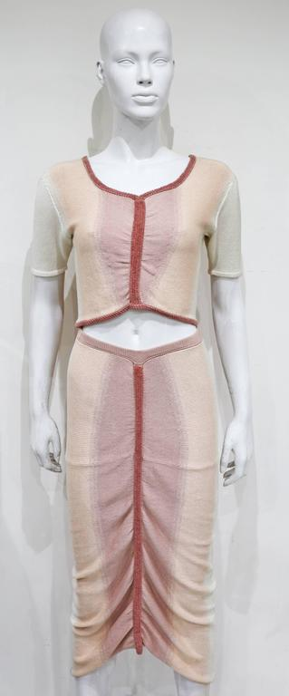 Valencia pastel knitted skirt and crop top ensemble, c. 1990s  4