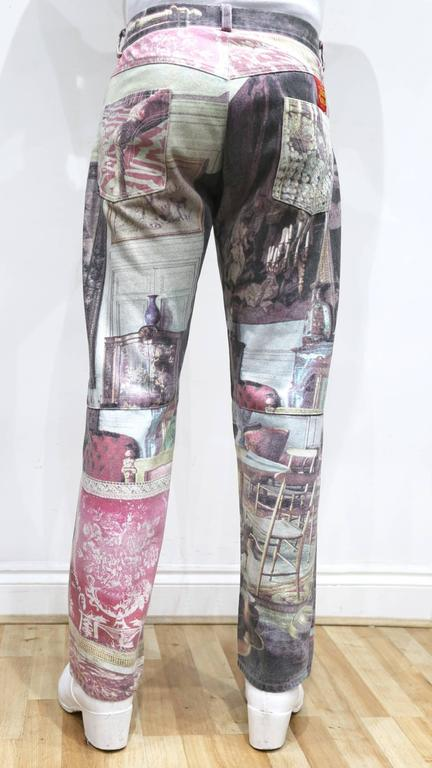 Vivienne Westwood mens Renaissance print jeans, c. 1990s In Good Condition For Sale In London, GB
