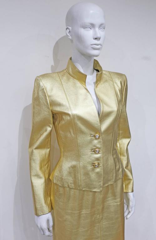 Yves Saint Laurent Gold Leather Skirt Suit, c. 1979 2