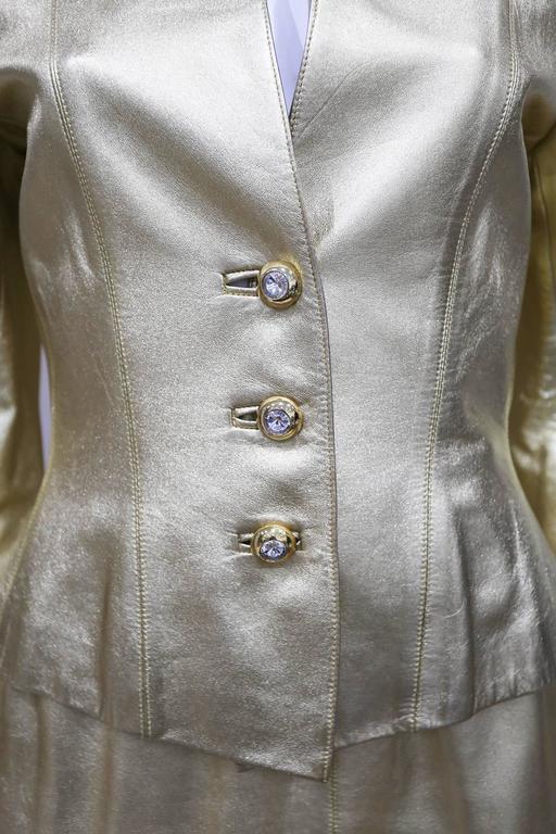 Yves Saint Laurent Gold Leather Skirt Suit, c. 1979 3