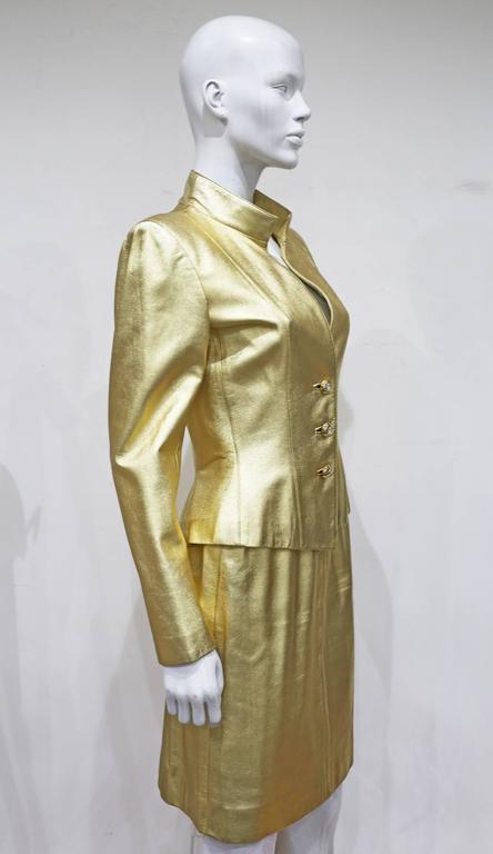Yves Saint Laurent Gold Leather Skirt Suit, c. 1979 4