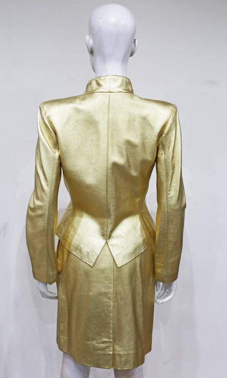 Yves Saint Laurent Gold Leather Skirt Suit, c. 1979 5