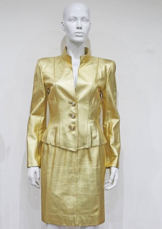 Yves Saint Laurent Gold Leather Skirt Suit, c. 1979 6