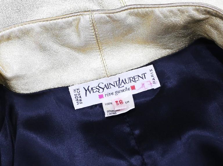 Yves Saint Laurent Gold Leather Skirt Suit, c. 1979 7