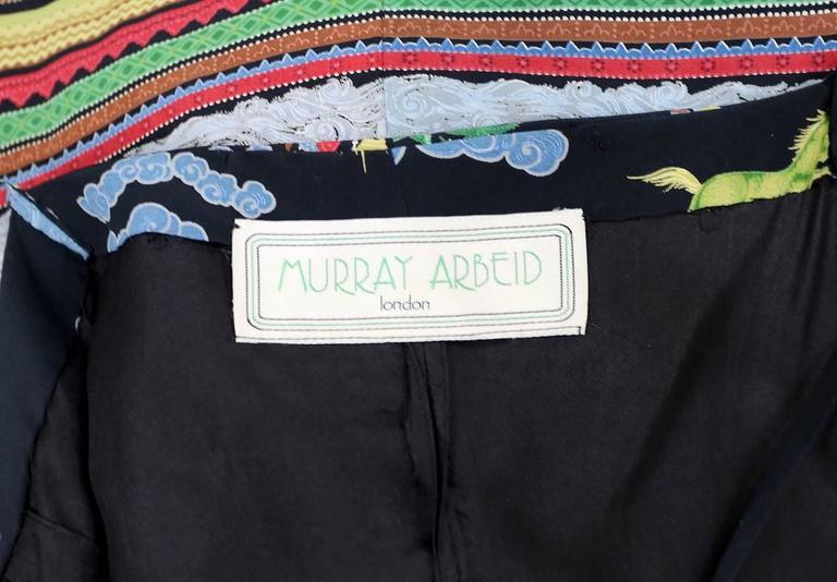 Murray Arbeid tiered silk dress with Oriental print, c. 1970s For Sale 1
