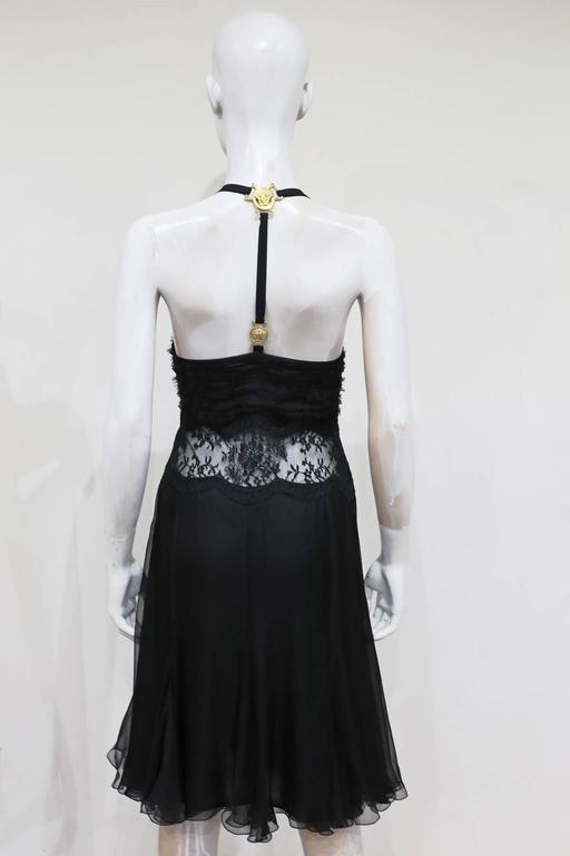 Versace bondage medusa harness evening dress with sheer lace panel, c. 2000s 3