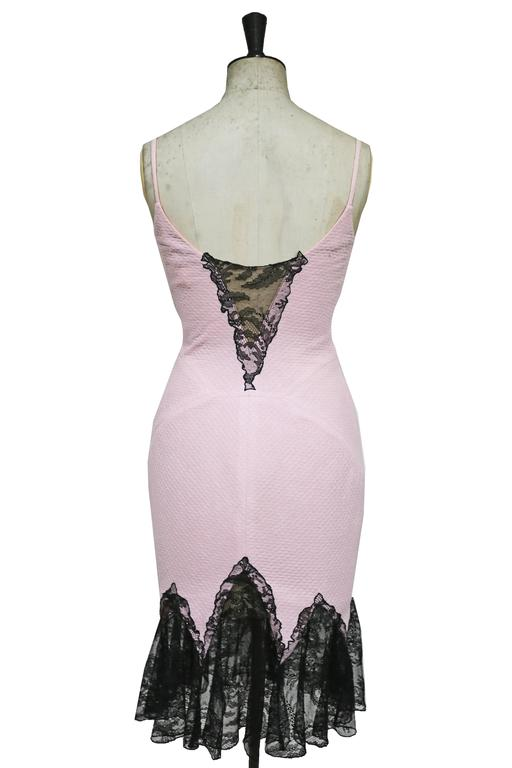 Gianni Versace baby pink cocktail dress with lace trim, c. 1990s 3