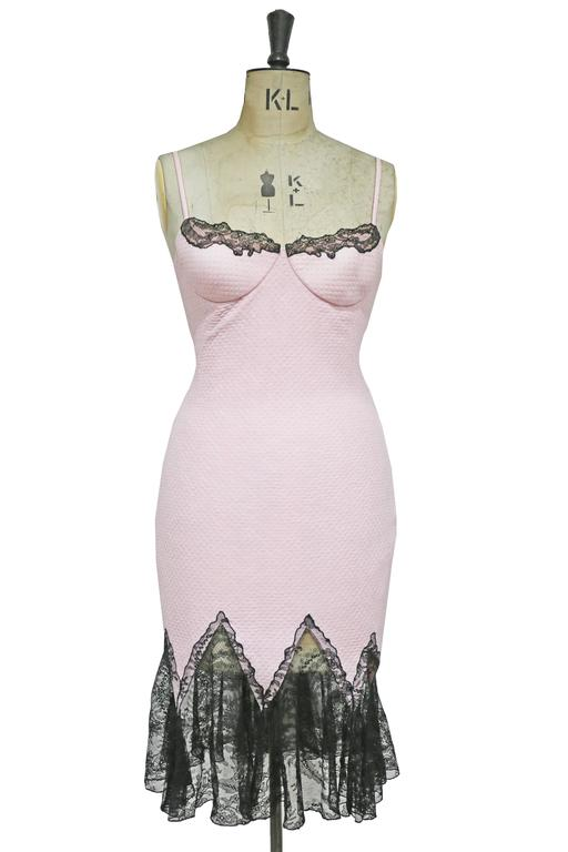 Gianni Versace baby pink cocktail dress with lace trim, c. 1990s 5