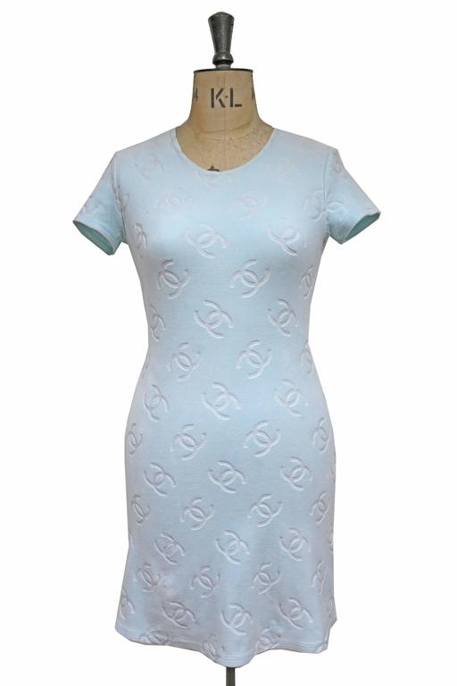 Chanel velour monogram baby blue dress, c. 1996 4