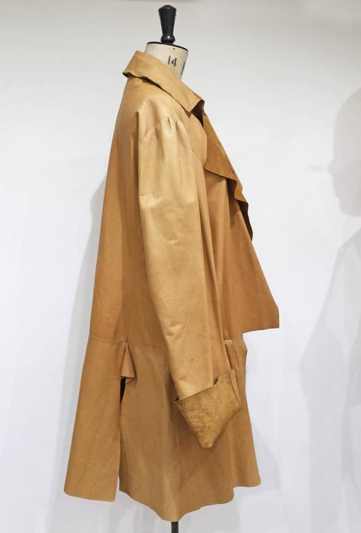 Brown Worlds End by Vivienne Westwood and Malcolm Mclaren raw cut leather coat, c.1981 For Sale