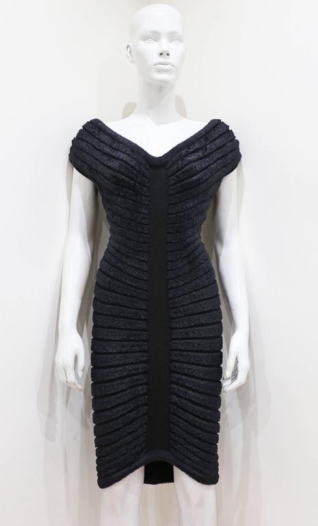 Iconic and rare black chenille-knitted evening dress, Spring-Summer, 1994. 