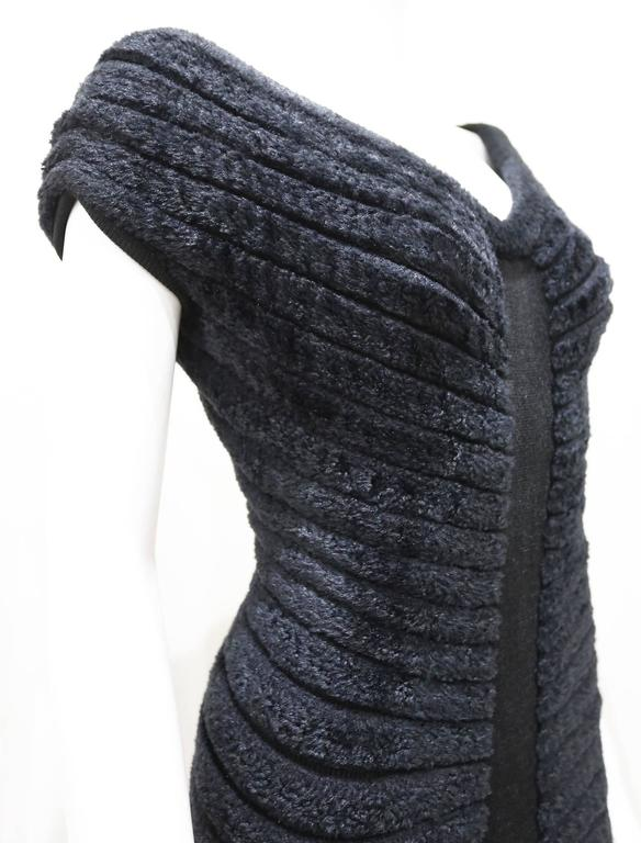 Women's Alaia black chenille-knitted evening dress, c. 1994 For Sale