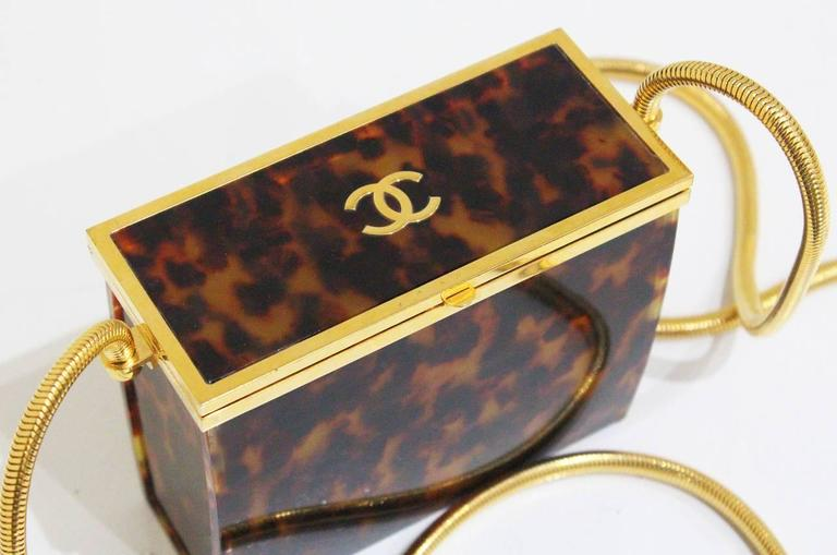 Chanel tortoise shell evening box bag with snake chain 2