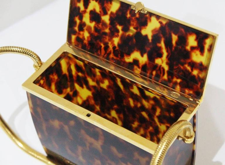 Chanel tortoise shell evening box bag with snake chain 3