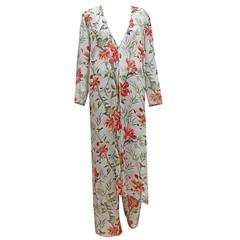Pancaldi & B floral summer pant suit in silk chiffon, c. 1990s