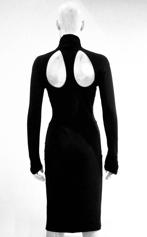 Black Versace black bodycon evening dress with cut outs For Sale