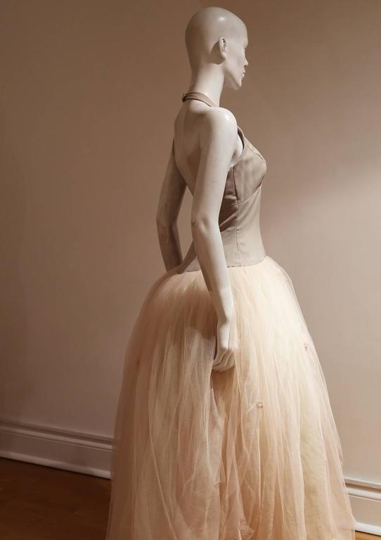 Beige Vera Wang Tulle Halter Neck Bridal Dress For Sale