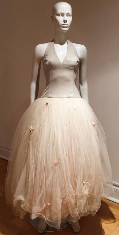 Women's Vera Wang Tulle Halter Neck Bridal Dress For Sale