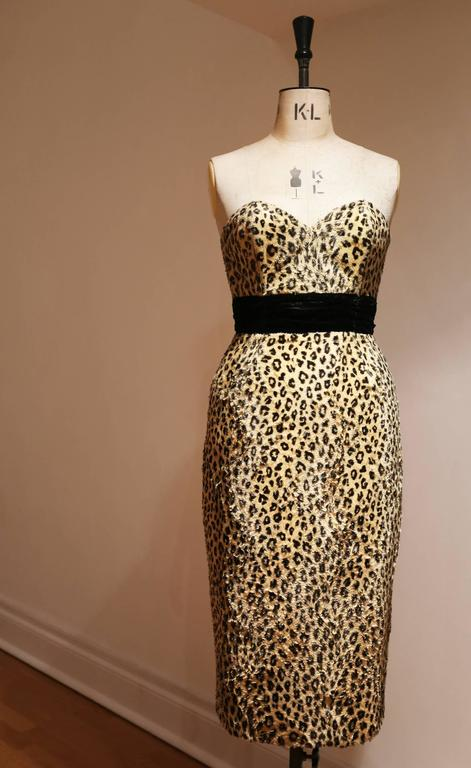 Caroline Walker leopard print strapless pin-up dress In Good Condition For Sale In London, GB