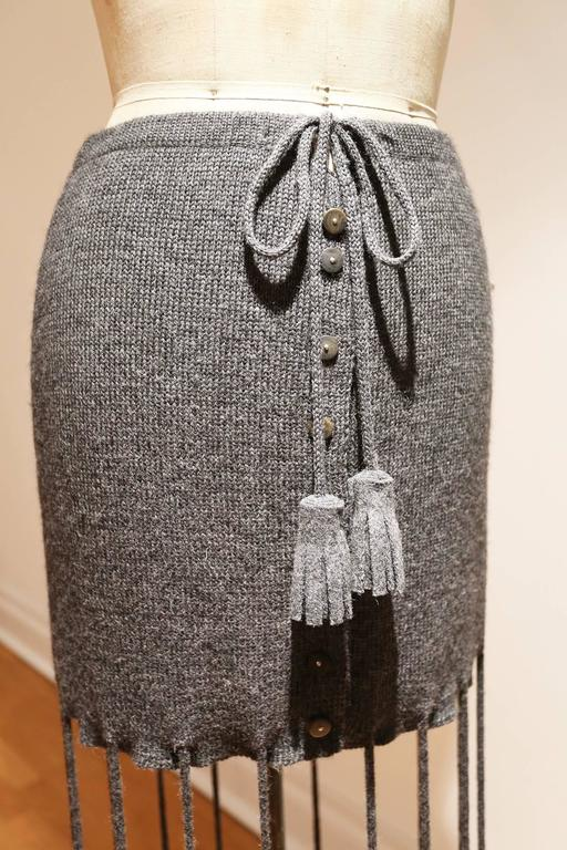 Knitted button up skirt with extra long tassels, c. 1990s 2
