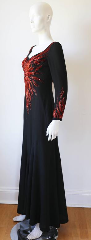 Murray Arbeid embellished fire evening dress, c. 1970s 3