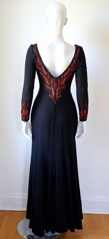 Murray Arbeid embellished fire evening dress, c. 1970s 4