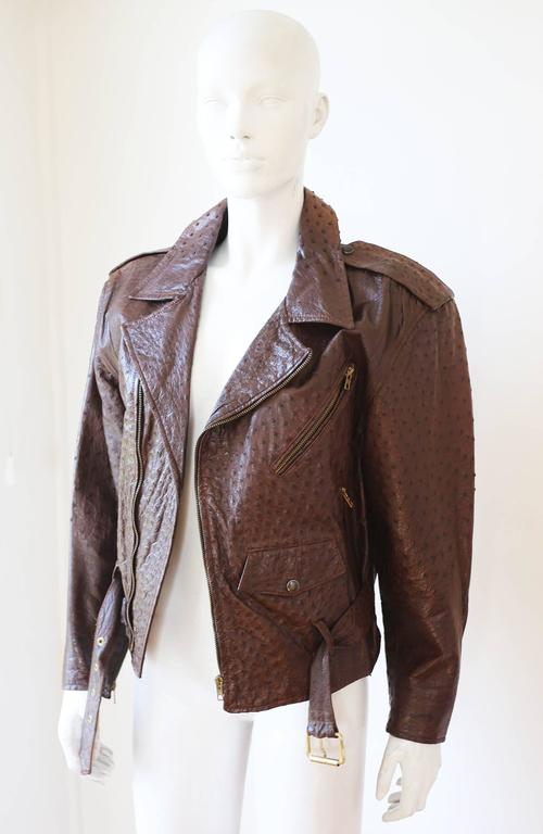 A rare and luxurious Jean-Claude Jitrois motorcycle jacket from the 1980s in brown ostrich skin and lined in silk. 