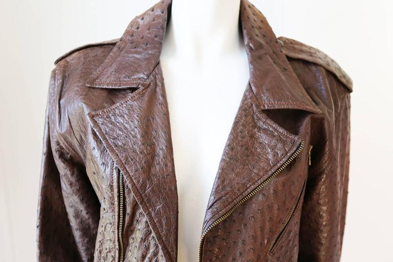 Brown Jean-Claude Jitrois Ostrich Skin Motorcycle Jacket, c. 1980s For Sale