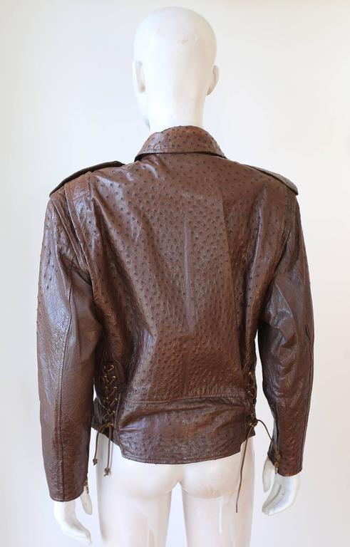 Women's or Men's Jean-Claude Jitrois Ostrich Skin Motorcycle Jacket, c. 1980s For Sale