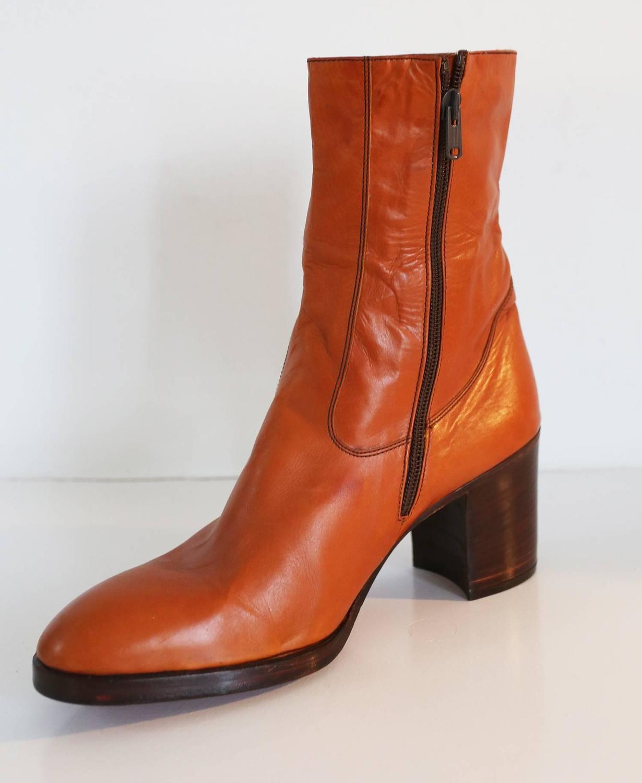 jocelyn mens orange platform boots in italian leather c