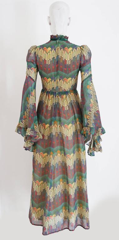 Samuel Sherman novelty print voile summer dress, c. 1970 In Excellent Condition For Sale In London, GB