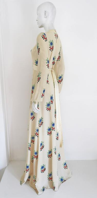 Beige Ossie Clark summer evening dress with Celia Birtwell print, c.1970s For Sale